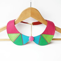 Colorful Leather Necklace Pink Green Peter Pan Detachable Collar Geometric Shapes Europeanstreetteam
