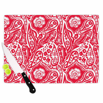 "Agnes Schugardt ""Paisley"" Paisley Red Cutting Board"