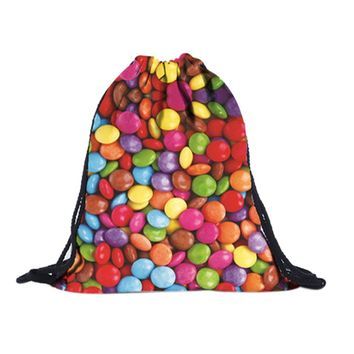 Candy Colorful Drawstring Bags Cinch String Backpack Funny Funky Cute Novelty