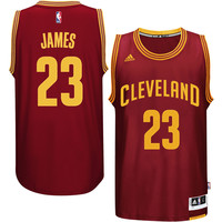 Men's Cleveland Cavaliers LeBron James adidas Burgundy Player Swingman Road Jersey
