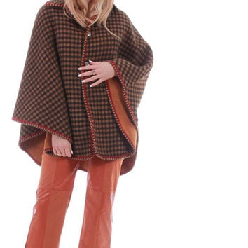 70's Vintage Reversible Wool Cape Coat Tan and Plaid Boho Hippie Chic Heavy Warm Winter Outerwear One Size Fits Most OS