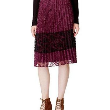 Maison Jules Women's Pleated Lace Skirt, Savory Wine, Medium