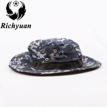 Camouflage Bucket Hat With String Summer Men Women Fisherman Cap Military Panama Safari Boonie Sun Hats Cap