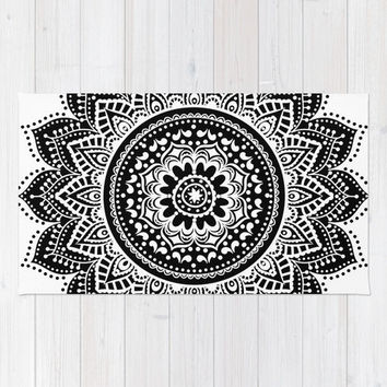 mandala rug/black and white rug/mandala floor mat/mandalas rug/mandala woven rug/mandala throw rug/mandala bathroom mat/chic rug/modern rug