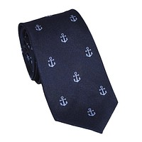 Anchor Necktie - Blue on Navy, Woven Silk