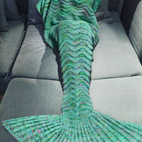 Hot Deal Birthday Gifts Knit Mermaid Sofa Blanket [10650315975]