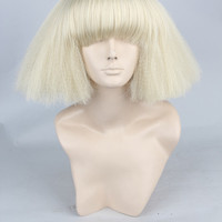 lady gaga blonde short straight full bangs party costume cosplay wig.synthetic