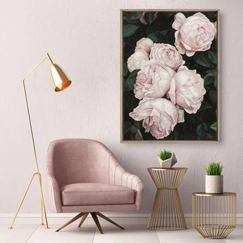 Classic Pink Rose Canvas Painting Flowers Wall Art Poster and Print Texture Picture for Living Room Wall Decoration Home Decor