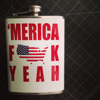American 'Merica Fuck Yeah USA Stainless Steel Hip Flask America