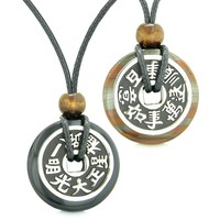 Amulets Large Reversible Fortune Coins Love Couples Yin Yang Powers Black Agate Dragon Eye Iron Necklaces