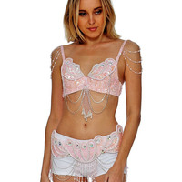 Baby Pink Mermaid Carnival Inspired Rave Bra and Belt Outfit