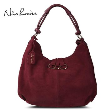 Nico Louise Women Real Split Leather Shoulder Hobo Bag,Original Design Suede Leisure Large Bags Lady Casual Shopping Handbag Sac