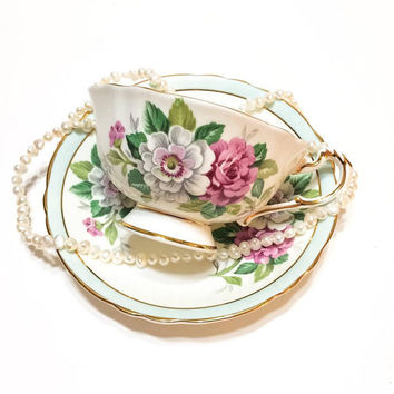 Paragon Tea Cup & Saucer, Large Pink and White Roses, Aqua Trim, Shabby Chic High Tea, English Bone China, 1950s, Vintage