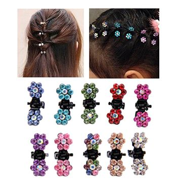 2Pcs /set Color Random Cute Crystal Plum Flower Hairpins Hair Grab Kid Hair Claws Women Girl Hair Clips Wedding Bridge Jewelry