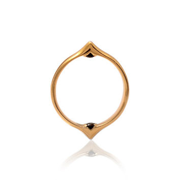 Moro Double Spike Ring 9ct Gold with Hidden Black Diamonds Gothic Eastern Inspired