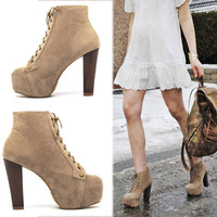 Western Lady Lace Up Faux Suede Thick High Heels Platform Ankle Boots Shoes 1kh