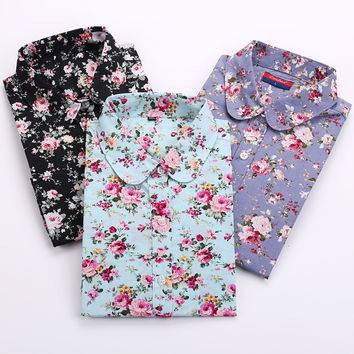 Vintage Women Shirts Long Sleeves Cotton Blouses Turn Down Collar Floral Shirts Blusas Femininas Fashion Women Shirt Tops