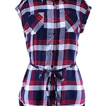 Ladies Code Womens Short Sleeve Checkered Plaid Button Down Shirt With Waist Tie