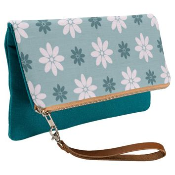 lovely white green floral clutch