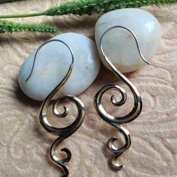 "Tribal Hanging Earrings, ""Elegance"" Brass, Sterling Posts, Handcrafted"