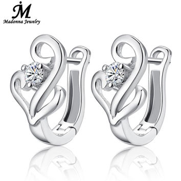 Fashion Fine Jewelry 925 Sterling Silver Women Stud Earrings High Quality Crysta inlaid Double Heart Ear Buckle Movement Jewelry