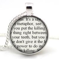 The Fault in Our Stars Necklace, John Green Jewelry: 'It's a metaphor'' Quote Pendant, Augustus Waters Cigarette TFiOS