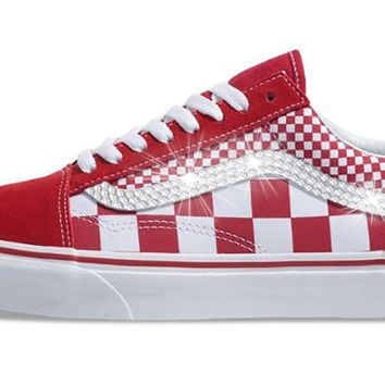 Women's Vans Checkerboard Old Skool + Crystals - CHILI PEPPER/TRUE WHITE