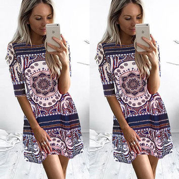 Women Summer Boho Half Sleeve Bodycon Evening Party Short Mini Dress Psychedelic Floral Letter Printed Round Neck Dress Vestidos