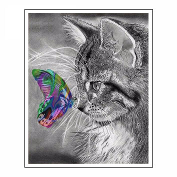 5D Diy Diamond Painting Cat Full Square 3D Diamond Embroidery Cross Stitch Gray Cat & Color Butterfly Needlework Home Decorative