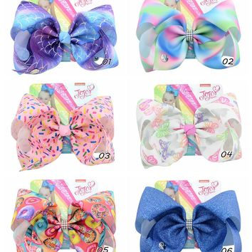 "1piece 8"" JoJo Clip Mermaid Scales Rainbow Butterfly Donut Print Bows With Clips For Kids Girl Boutique Hair Accessories 890-j"