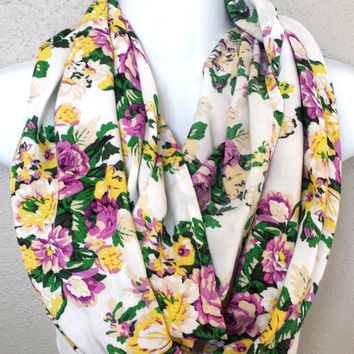 Purple & Yellow Floral Rayon Infinity Scarf Womens Summer Fashion Scarves Girls Spring Flower Scarf Floral Accessories Summer Scarves