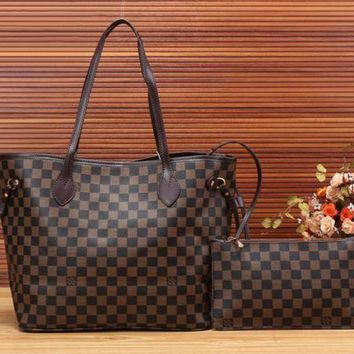 LV Louis Vuitton Women Girl Monogram Canvas Neverfull Two piece And Key pouch-Coin purse