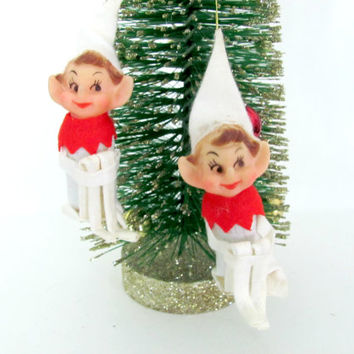 Vintage 1960's Pixie Elf Ornaments, Christmas Tree Ornaments, Knee Hugger Elves, Christmas Decor, Mid Century