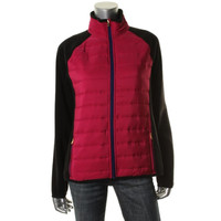 Lauren Ralph Lauren Womens Contrast Trim Colorblock Fleece Jacket