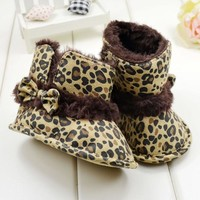 Girls' Winter Boots Leopard Bow Soft bottom toddler shoes First