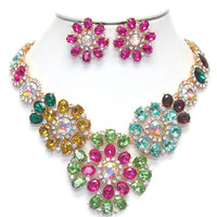 Multi Color Glass and Crystal Statement Necklace Earring Set