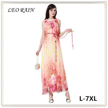 7xl 6xl 5xl Summer New Print Sleeveless Pleated Chiffon Dress Elegant Women Plus Size Long Maxi Dresses Vestidos LEORAIN
