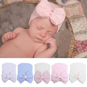 Lovely Baby Girls Infant Striped Cap Hospital Newborn Soft Bow Beanie Hat Gifts