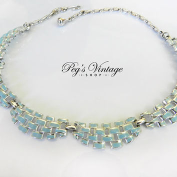 Vintage CORO Blue Enamel & Silver Tone Bib Collar Necklace
