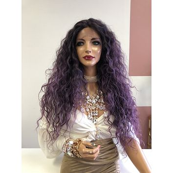 """Purple Wavy Hair Lace Front Wig 24"""" 0319 Masquerade"""