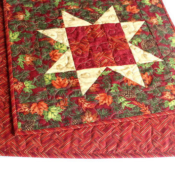 Fall Table Runner, Quilted Table Runner, Maple Leaves, Autumn Table Topper, Red Table Runner, Rustic Cabin Decor, Large Table Runner