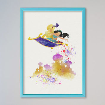 Princess Jasmine Aladdin Magic Carpet Poster Watercolor print Disney Jasmine Castle Illustration Kids Nursery Art Aladin Flying Carpet