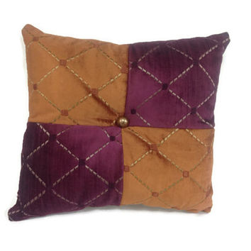 Decorative Throw Pillow, orange, purple, beige, home decor, accent pillow, toss pillow, embroidered design