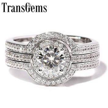 TransGems 1 Carat F Color Lab Grown moissanie Diamond Wedding Ring Set moissanite Accents Solid 14K White Women 3 Pieces