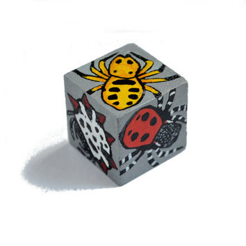 Spider wooden art cube, colourful arachnid art, one inch hand painted wood cube