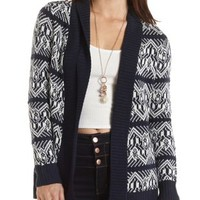 Open Front Patterned Cardigan by Charlotte Russe - Navy Combo