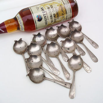 Vintage Flaming Brandy Bar Spoons Hennessy Cognac Spoons Set of 12 Barware Utensils Stock the Bar