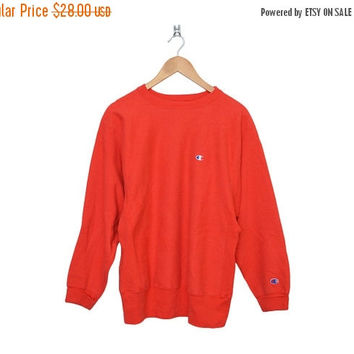 Closing Sale / 70% Off Vintage Champion Athletics Bright Red Reverse Weave L Sweatshirt, Made in USA