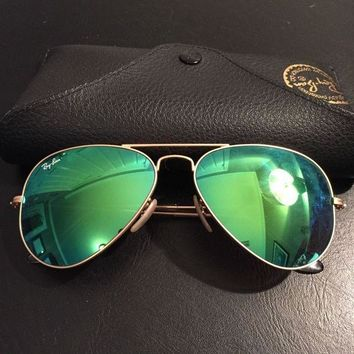 ESB2N Cheap Ray Ban Aviator Sunglasses Green Mirrored Lens Gold Frame, 100% UV outlet
