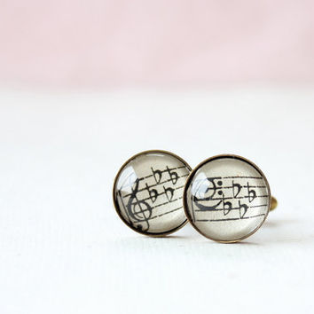 Music cuff links. Vintage sheet music accessory for men.  Guy gift for anniversary, birthday, fathers day, valentines day.